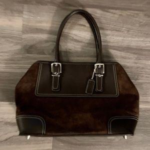 Coach Brown Suede & Leather Medium Handbag